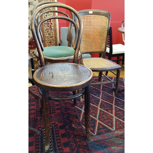 42 - Early 20th C bentwood parlour chair with velvet upholstered seat H35ins W18ins D17ins one other bent...