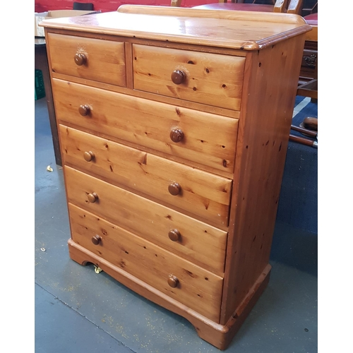 44 - 19th C style pine two over four chest with turned wood handles H47ins W36ins D18ins...