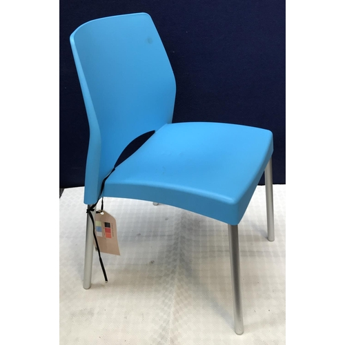 46 - Contemporary designer metal frame hall chair with moulded vinyl seat in blue livery H32ins W17ins D1...