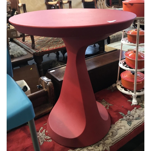 53 - Contemporary designer vinyl shape pedestal circular side table in red livery H29ins Diameter 27ins...