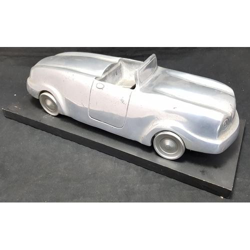 14 - Art Deco style aluminium convertable car model on wood plaque H5.5ins L16ins...