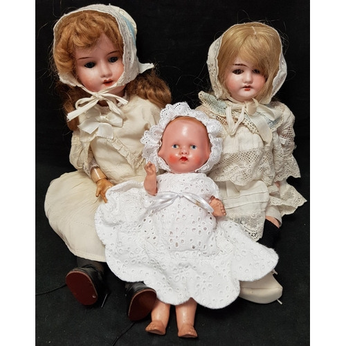 15 - Two late 19th early 20th C German bisque head doll figures H15ins plus later vintage doll...