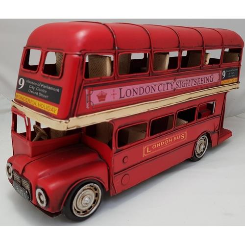 17 - Vintage 20th C tinplate London double decker bus model H7ins L12ins...