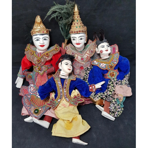 18 - Two pair of oriental painted carved wood puppet figures H14ins plus one other pair...