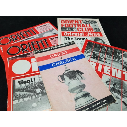 24 - Orient FC football programme season 76/77 Vs Fulham plus five other Orient programmes, 6 items in th...