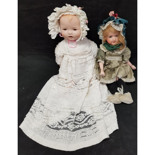 26 - Late 19th early 20th C bisque head doll figure marked Herm Stiener, Made in Germany H13ins plus one ...