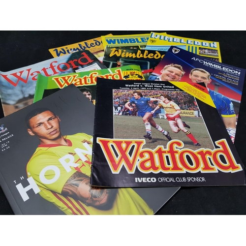 28 - Quantity of mainly 70's and 80's football programmes Wimbledon and Watford FC related...