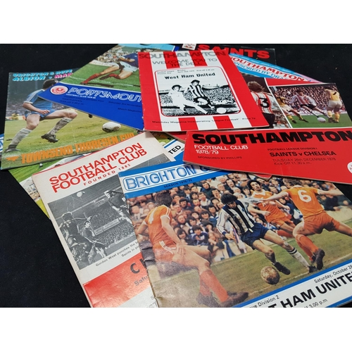 30 - Quantity of football programmes, Brighton, Southampton and Portsmouth related mainly 1970's/80's, 9 ...