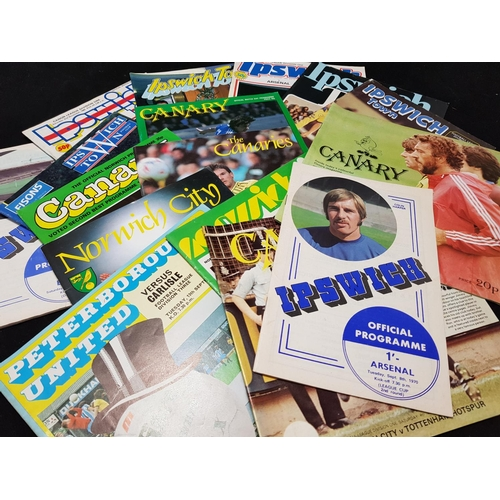 38 - Quantity of Norwich, Ipswich and Peterborough FC football programmes, mainly 1970's/80's, 20 items i...