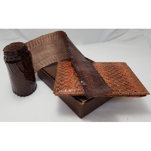 43 - Early snakeskin pelt L68ins plus snakeskin Gents wallet and a reptile style skin box...