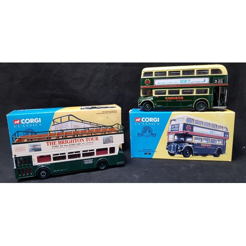 49 - Boxed Corgi Classics Diecast Leyland Atlantean open top bus set Guide Friday H4ins L9ins plus Corgi ...