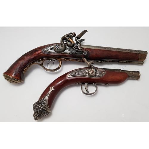 54 - Replica double barrel flintlock pistol L14ins plus similar style percussion pistol...