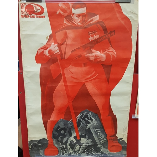 1 - Mid 20th c Russian poster print depicting Victory over Nazi Germany size 34ins x 23ins...