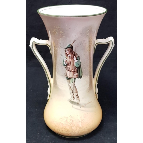 3 - Royal Doulton two handled china vase depicting Huntsman portrait by Rosalind size 8.5ins H...