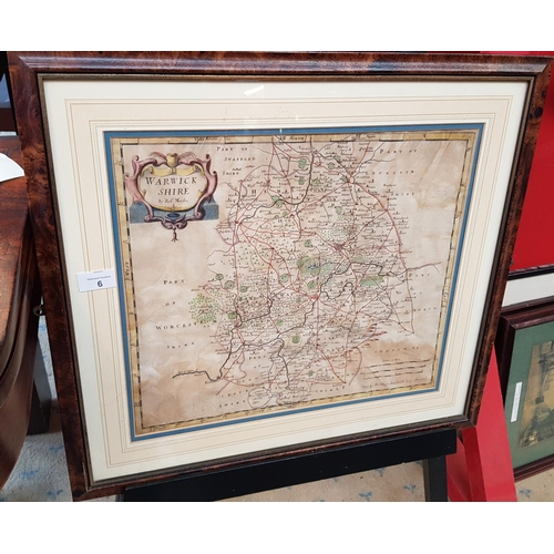6 - Georgian period f/g map depicting Warwickshire by Robert Morden 1675 - 1703 size 23ins x 21ins...
