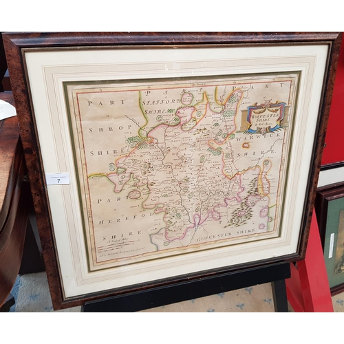 7 - Georgian period f/g map depicting Worcestershire by Robert Morden 1675 - 1703 size 23ins x 21ins...