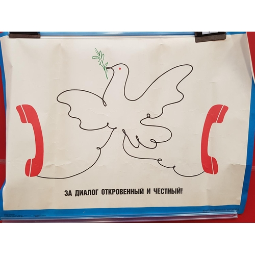 9 - 1980's period Russian Friendship poster size 25ins x 19ins...