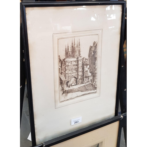 39 - Pair of early 20th c etching style scenes of Canterbury Town Kent frame size 16ins x 12ins...