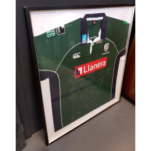 11 - Rare f/g London Irish Rugby shirt signed by the 2006/2007 season squad, frame size 37ins x 34ins...