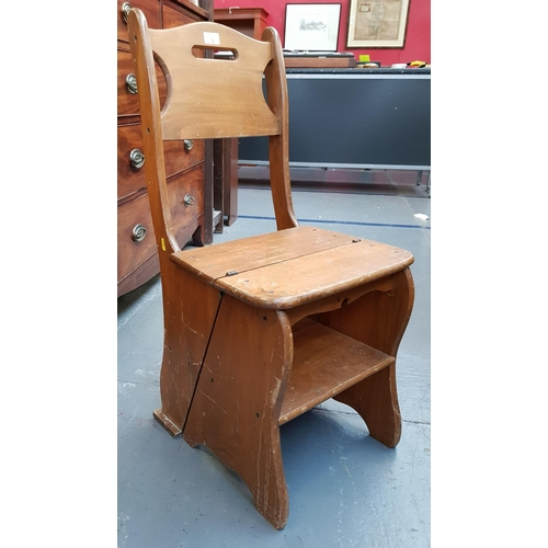 3 - Early 20th C pine metamorphic chair/library steps H34ins W16ins D15ins...
