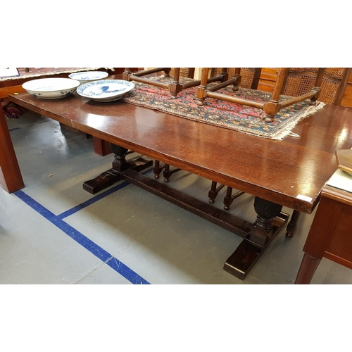 17 - Large early 20th C oak dining table on bulbous supports with stretcher makers mark for Maple L72ins ...