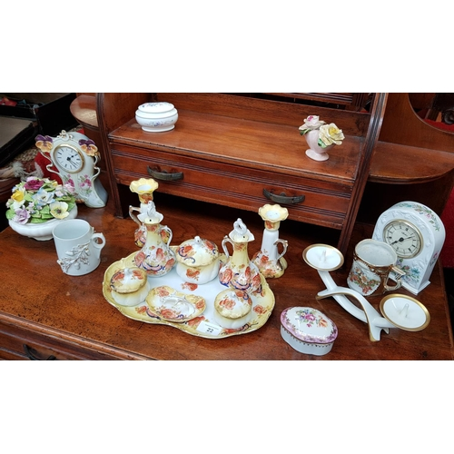 22 - Early 20th C eight piece decorative china dressing table set on matching tray plus eight other decor...