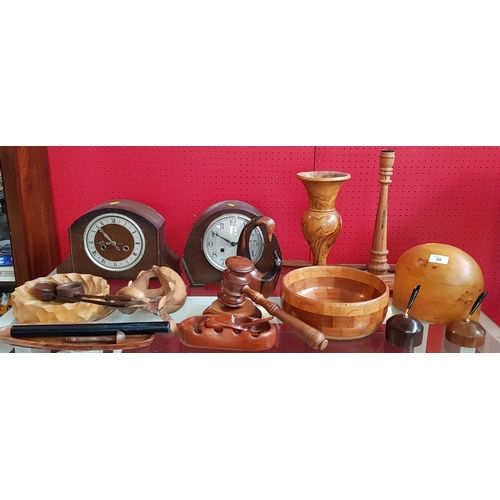 20 - Turned treen candlestick H14ins plus hat makers block, two vintage mantle clocks and other treen col...