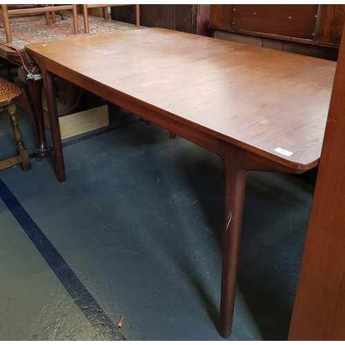 53 - 1970's period retro teak extending dining table (closed size) L63ins W35ins plus set of four Scandin...