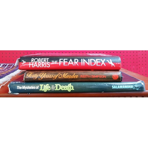 37 - Two hardback books signed by the author Keith Simpson plus one other The Fear Index signed by the au...
