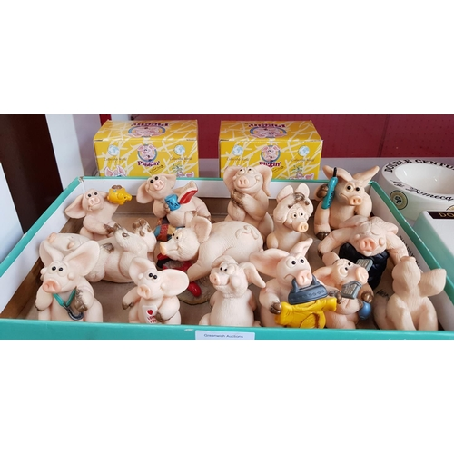 47 - Collectors Piggin tea break figure with box, one other Piggin skint and eleven other related collect...