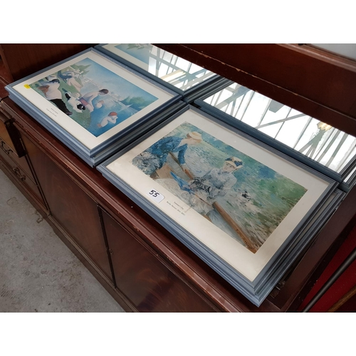 55 - F/g image Orcha's photograph print, frame size 30ins x 25ins plus six f/g prints various artists, in...