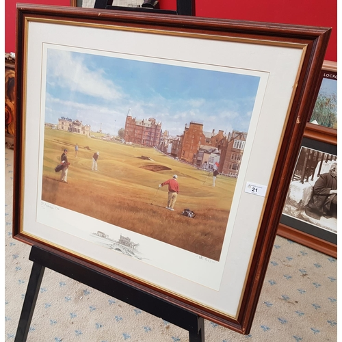 21 - F/g Limited Edition golf print St. Andrew's 17th signed on the margin by the artist, frame size 26in...
