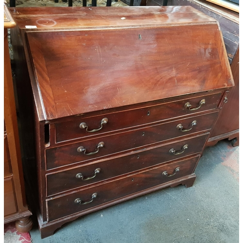 26 - Early 19th c Georgian mahogany bureau chest with integral drawers and pigeon holes, four drawers bel...