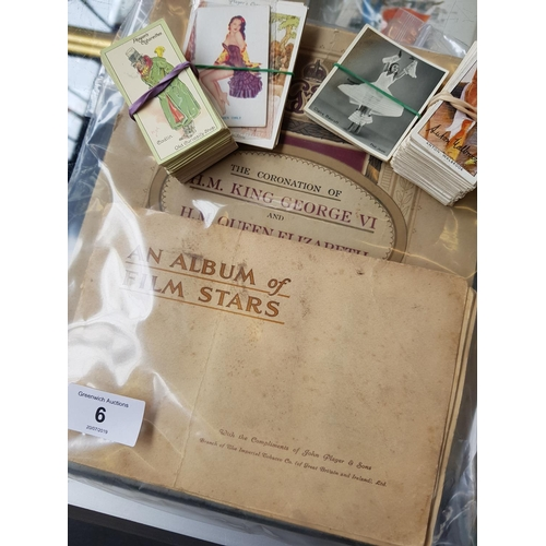 6 - Three original 1930's cigarette card albums with contents plus mainly loose Players and Will's colle...