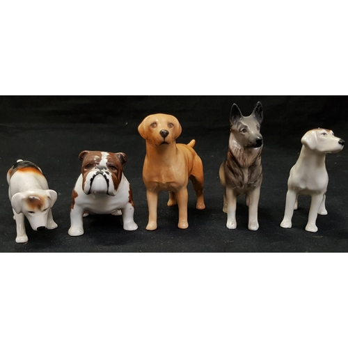 32 - Beswick china labrador dog figure H4ins L5ins in excellent condition plus four other Beswick dog fig...