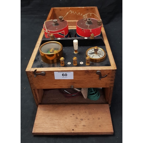 60 - 19th C Victorian Quack medical electro-therapy machine in wood case (closed size) H8ins W7ins D7ins...