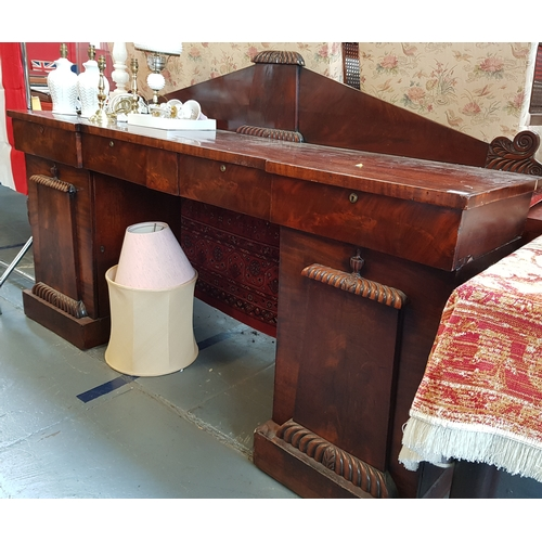 33 - Mid 19th c rosewood and mahogany twin pedestal serving buffet with carved upstand, drawers and cupbo...