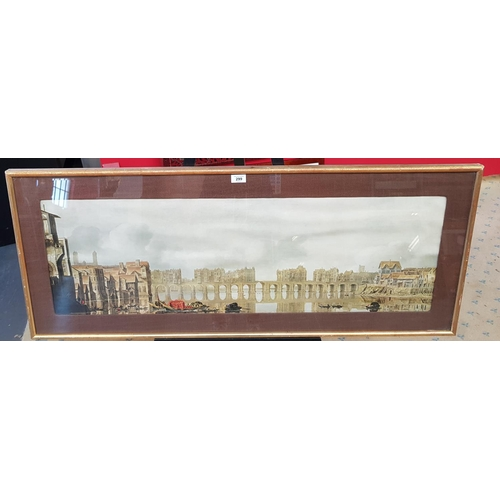 52 - Large F/G print depicting a 17th C image London Bridge and the Thames Frame Size 48