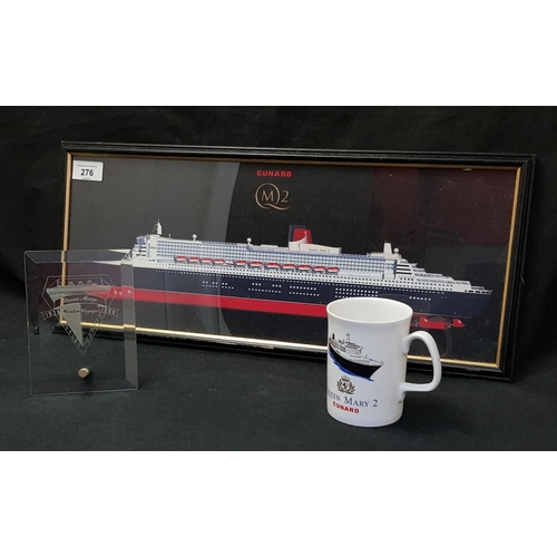28 - F/G picture image of Cunard Queen Mary II frame size 21 x 9
