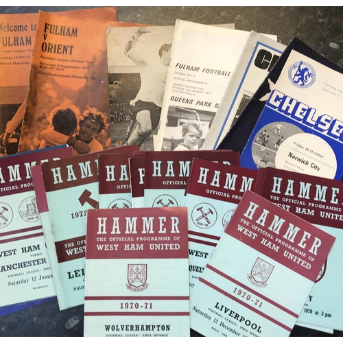 39 - Quantity of 1970's period football programmes Chelsea, Fulham and West Ham, 26 items in the lot...