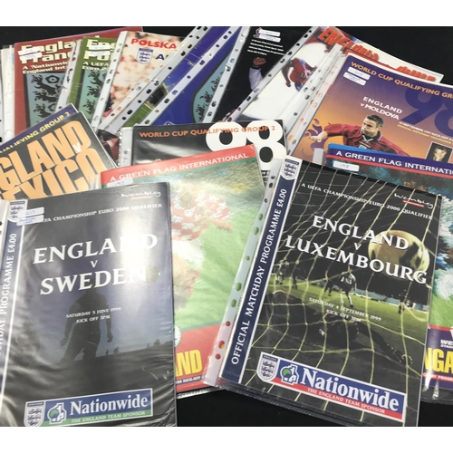10 - From a private collection quantity of England International Football programmes 1996/97/98/99 21 ite...