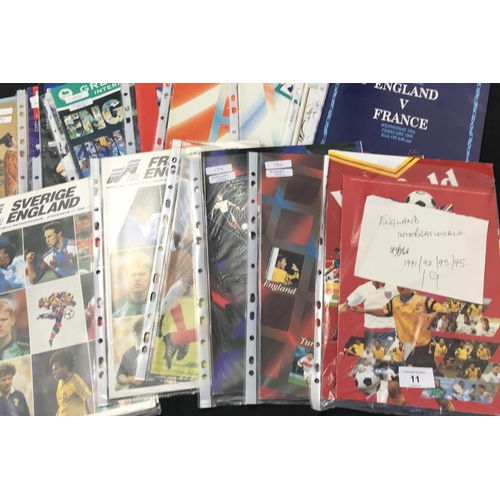 11 - From a private collection quantity of England International Football programmes 1991/92/93/95 19 ite...