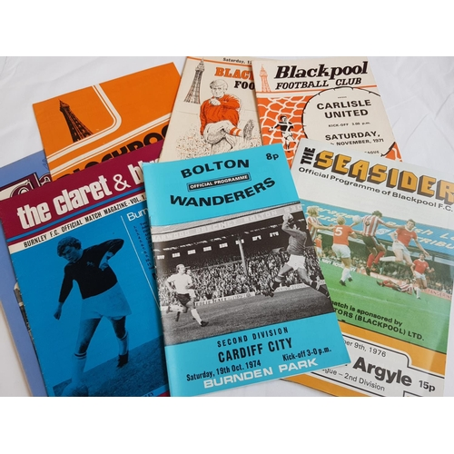 10a - Quantity of 1970's period football programmes Burnley, Bolton, Blackpool and Preston related 44 item...