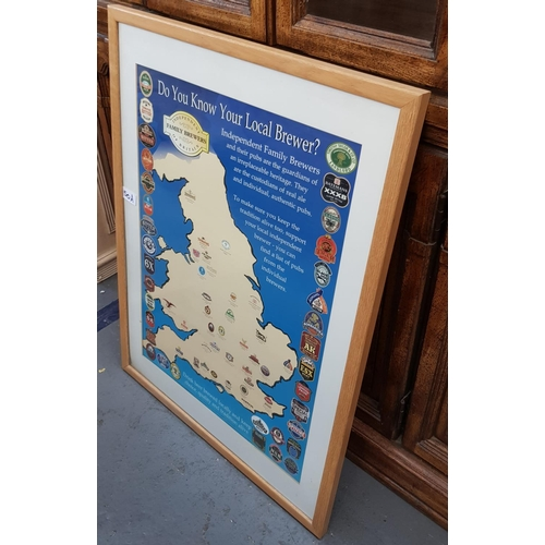 50a - F/G print Do You Know Your Local Brewer print 29ins x 21ins plus two drinks advertising mirrors Beef...