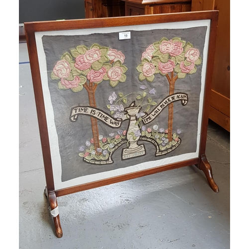 10 - Early 20th C mahogany frame fire screen with embroidered panel relief marked Time Is. Time Was. Time...
