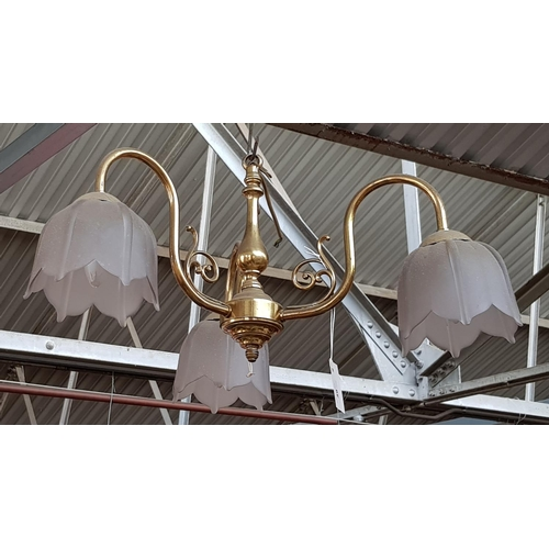 49 - Vintage three branch brass chandelier with tulip style glass shades 23ins W x 11ins Drop...