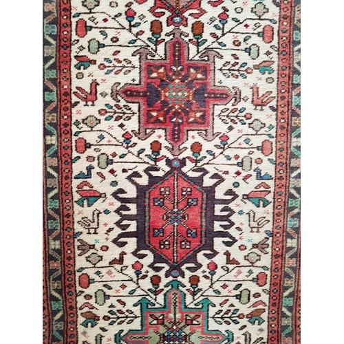35 - Vintage 20th C multi-colour persian woven runner rug 3.90m x 0.77m...