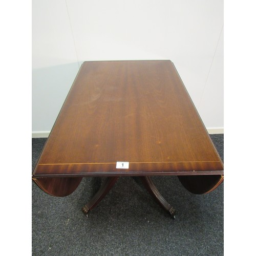 1 - Regency style, mahogany, inlaid, drop leaf dining table on a single pedestal. 150cm wide when open, ...