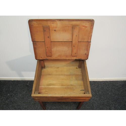 2 - 1960's, child's, pine, school desk with original pot inkwell. 62cm h, 58cm w, 48cm d...