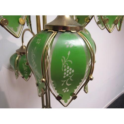 4 - 1960's, Hollywood, Regency, Art Deco, green glass, tulip bouquet, floor lamp. 172cm high...